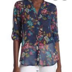 Kut from kloth sheer floral Long Sleeve Top Shirt